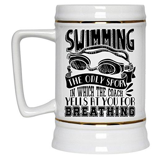 Funny Gift For Swimmer Beer Stein 22oz Swimming Beer Mug Beer Mug-White