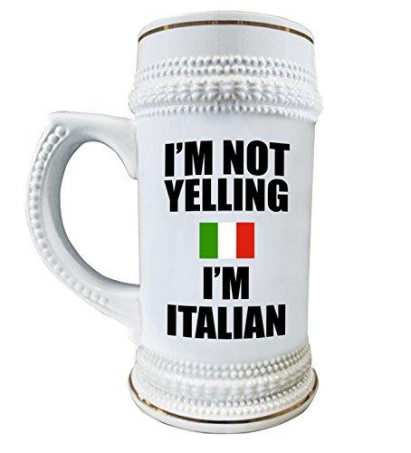 Funny Italian Beer Stein - I am not Yelling I am Italian - 22 oz Beer Mug
