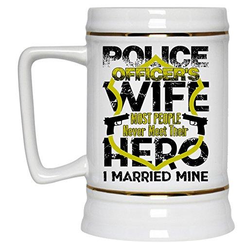 I Married Policeman Beer Stein 22oz Police Officers Wife Beer Mug Beer Mug-White