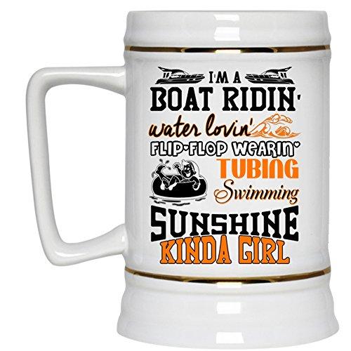Im A Swimming Sunshine Kinda Girl Beer Stein 22oz Im A Boat Riding Beer Mug Beer Mug-White
