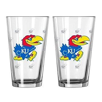 NCAA Kansas - Satin Etched Pint Glasses 2  KU Jayhawks 16 oz Beer Pints - Set of 2