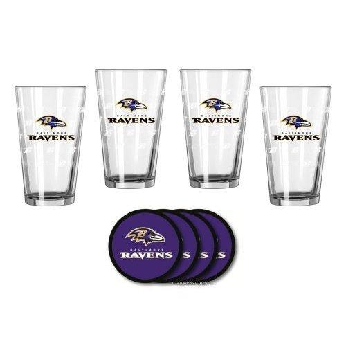NFL Football Satin Etched Pint Glasses and Coasters Gift Set - Beer Drinkers Beverage Set Ravens
