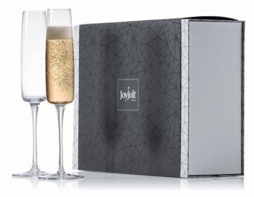 JoyJolt Amara High End Crystal Champagne Glasses 100 Lead Free Champagne Flute Glasses Set of 2 Champagne Flutes glass 6-Ounce Ultra Clear Crystal Champagne Glassware