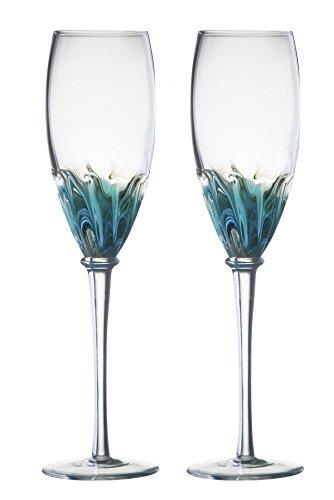 DRH Anton Studios Solar Set of 2 Champagne Glasses Flutes in Blue