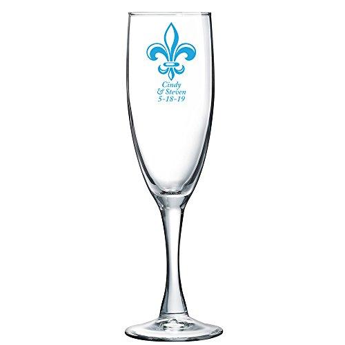 Personalized Color Printed Champagne Flute - Fleur De Lis - Blue - 144 pack