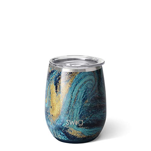 Swig Life Stainless Steel 14oz Stemless Wine Cup Dishwasher Safe with Spill Resistant Slider Lid in Starry Night