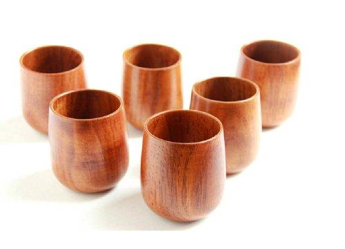 Moyishi Top-Grade Natural Solid Wood Wooden Tea Cup Wine Mug 250mlSet of 4