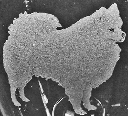 Muddy Creek Reflection American Eskimo Dog Laser Etched Large White Wine Glass Set 2 20WW
