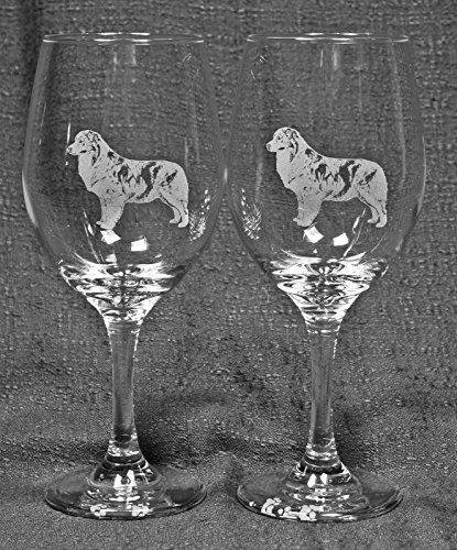 Muddy Creek Reflection Australian Shepherd Dog Laser Etched Large White Wine Glass Set 2 20WW