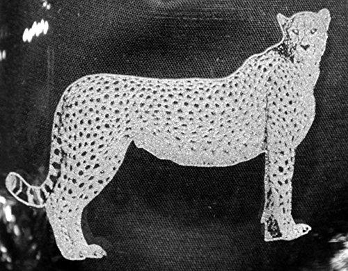 Muddy Creek Reflection Cheetah Cat Laser Etched Large White Wine Glass Set 2 20WW