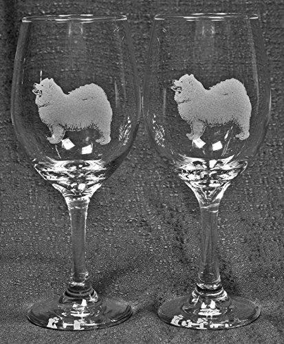 Muddy Creek Reflection Samoyed Dog Laser Etched Large White Wine Glass Set 2 20WW