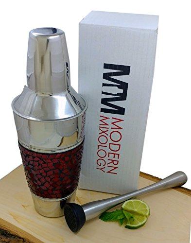 Martini Cocktail Shaker Muddler Kit Stainless Steel Barware Set 20 ounces Designer Red Mosaic Glass by Modern Mixology