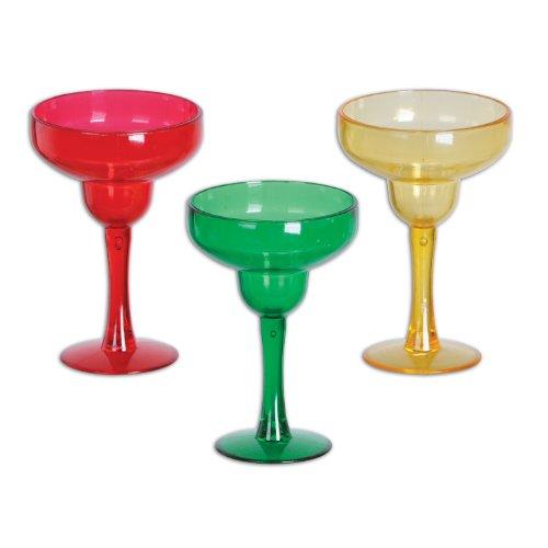 Margarita Shot Glasses asstd red gold green  12 Pack