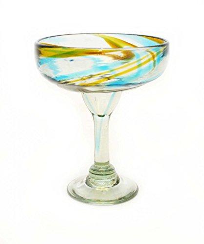 SET OF 4 AQUA AND AMBER SWIRL MARGARITA GLASSES RECYCLED GLASS - 14OZ HANDMADE