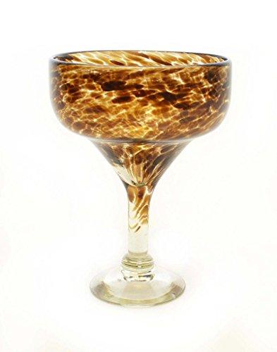 SET OF 4 CHOCOLATE CONFETTI MARGARITA GLASSES RECYCLED GLASS - 14OZ HANDMADE