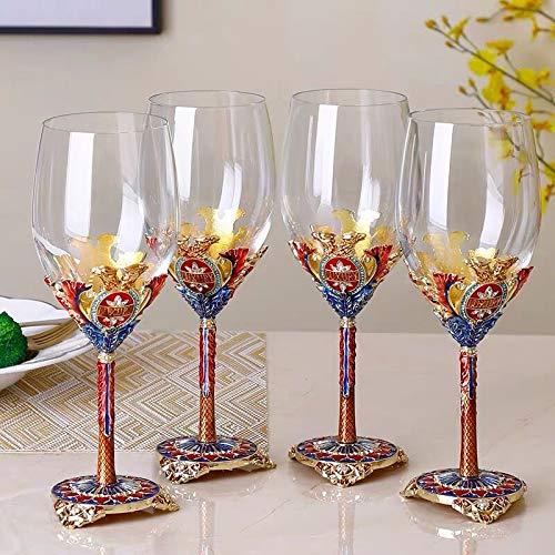 JJCFM European Style Red Wine Glass 4 Goblet Crystal Enamel Champagne Glass - for Wine Tasting Wedding Family Dinner Party Bar Gifts for Family and Friends 300Ml