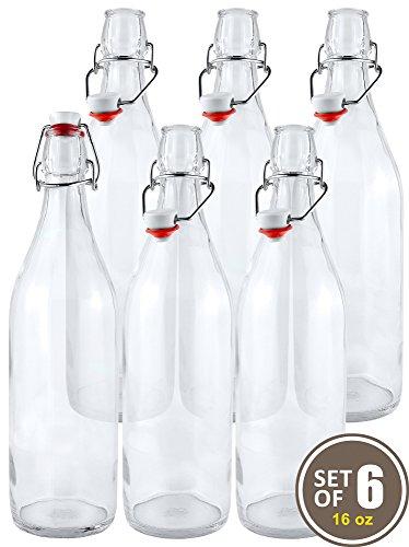 Estilo Swing Top Easy Cap Clear Glass Beer Bottles Round 16 oz Set of 6