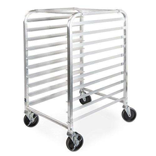 TrueCraftware Commercial 10 Tier Bun Pan Rack - Aluminium Full or Half Size Sheet Pan Rack with Locking Wheels