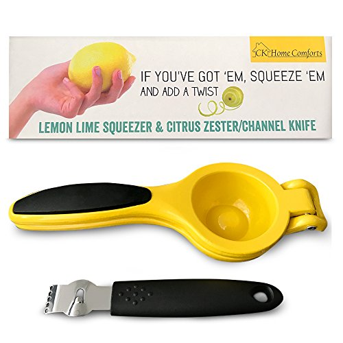 Amazing Premium Metal Manual Citrus Press Juicer - Lemon Lime Squeezer Zester and Channel Knife Set by CK Home Comforts Easy to Use