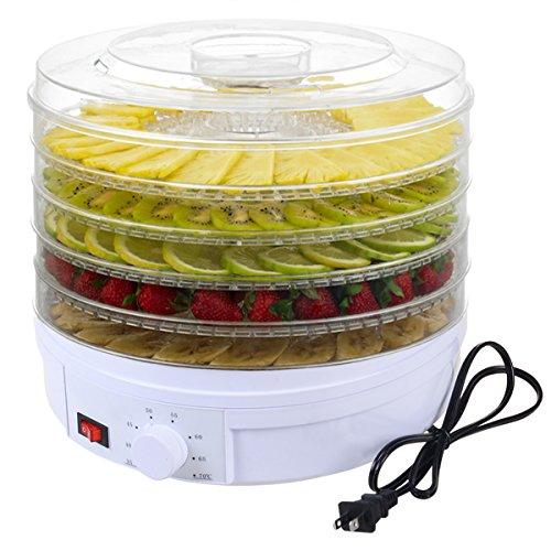 DPThouse Electric Food Dehydrator Fruit Vegetable Dryer Beef Snack Jerky Dehydro 5 Stackable Trays