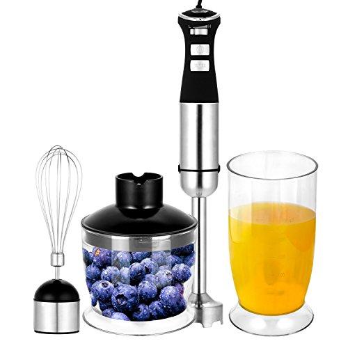 Kemanner 4-in-1 Hand Immersion Blender5-Speed Control Multifunctional Mixer with Chopper Whisk Blender Jar Beaker Attachment Purple