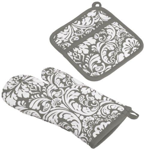 DII 100 Cotton Machine Washable Everyday Kitchen Basic Damask Printed Oven Mitt and Pot Holder Gift Set Gray