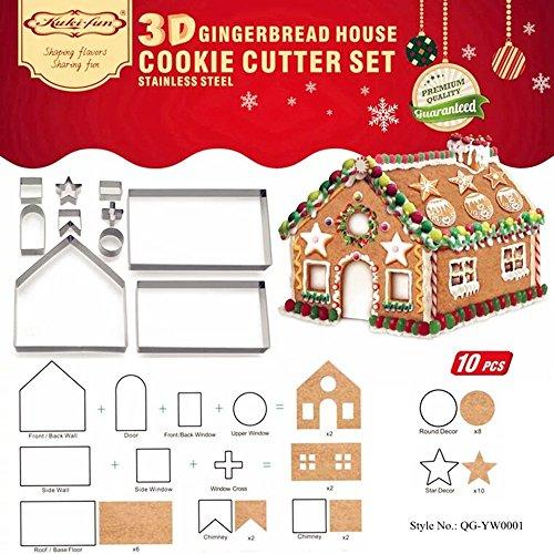 DIY 3D Gingerbread House Cookie Cutter Bake Set - Christmas  Holiday Cookie Cutter Set 10 PCS