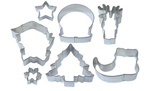R&M International 2005 Jolly Holiday Cookie Cutters Snow Globe Elf Face Shoe Christmas Tree Star Reindeer Mini Snowflake 7-Piece Set