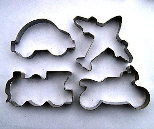 LAWMAN Vehicles Cookie cutter Train Car Motorbite Plane Fondant Biscuit Baking mold Set 4 pcs
