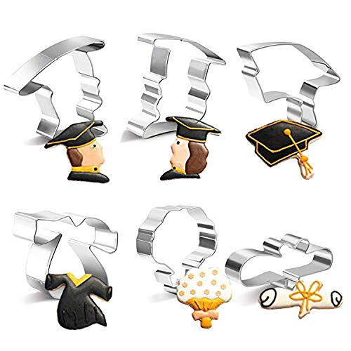 6PCS Graduation Cap Cookie Cutter Set 2019 Stainless Steel DIY Cake Biscuit Moulds Pastry Fruit Fondant Cutters and Molds for Baking Cake Decorating Supplies Kit with 6 pcs DIY Printed Card