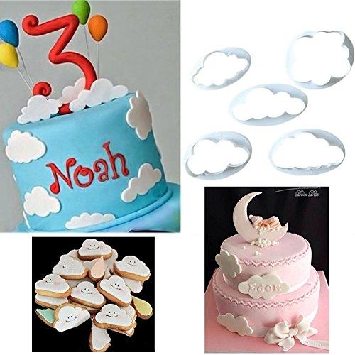 Angelduck 5Pcs Fluffy Cloud Fondant Sugar Cookie Biscuit Cake Cutter Mold