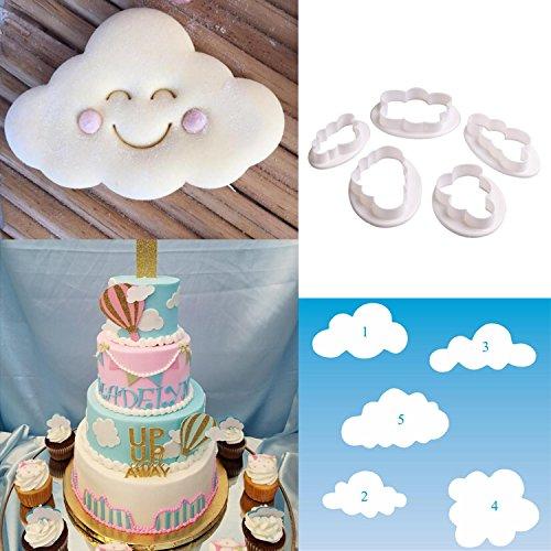 Honbay 5PCS Different Plastic Fluffy Cloud Cutters Cookie Cutters Cake Cutters Fondant Cloud Cutters