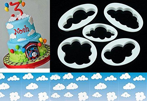 LOKMAN Set of 5 Fluffy Fondant Cloud Cutter Gum Paste CutterCookie Cake Mold Fondant Cutter Sugar Craft Fondant Decorating Tools Cloud