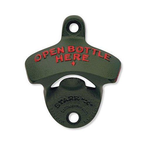 1 X Green Open Bottle Here Starr X Wall Mount Bottle Opener - Powder Coated - New