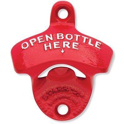 1 X Red Open Bottle Here Starr X Wall Mount Bottle Opener - Powder Coated - New