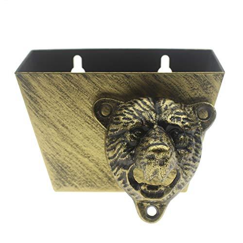 Cast Iron Wall Mount Grizzly Bear Teeth Bite Bottle Opener and Beer Cap Catcher antique bronze set
