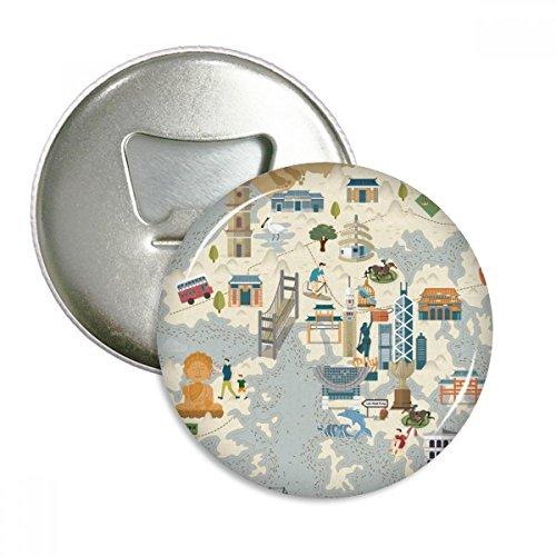 Hong Kong Local Bicycle Visiting China Round Bottle Opener Refrigerator Magnet Badge Button 3pcs Gift