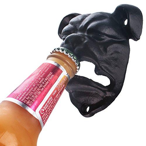 CKB Ltd Bulldog Wall Mounted Bottle Opener Cast Iron Hand-Painted Finish - Gift Boxed