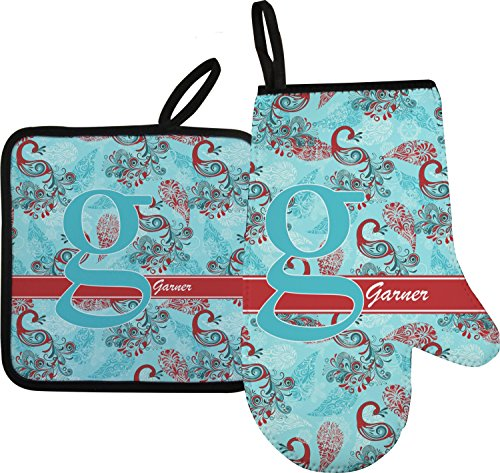 Peacock Oven Mitt Pot Holder Personalized