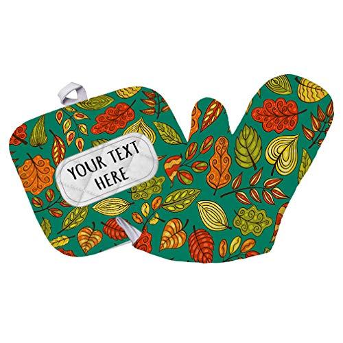 Polyester Oven Mitt Pot Holder Set Custom Fall Leaves Seemless Pattern C Adults