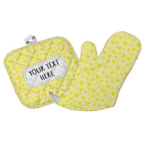 Style In Print Polyester Oven Mitt Pot Holder Set Custom Heart Pattern 26 Pattern Yellow White Adults