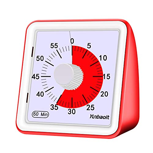 Yunbaoit 60-minute Visual Analog TimerCountdown ClockNo Loud TickingTime Management Tool for Kids and Adults Cooking Red