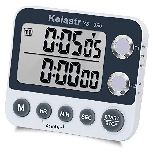 Digital Kitchen Timer Magnetic BackCooking TimerLarge Display Loud Alarm Count-Up Count Down Dual Timer for Cooking BakingVolume AdjustableONOFF SwitchBattery Including
