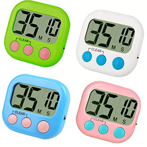 4 Pack Digital Kitchen Timer Cooking Timer Simple OperationBig DigitsLoud Alarm ONOFF SwitchMinute Second Count Up Countdown Large LCD Display for Cooking Baking Sports Games Office