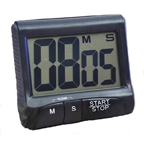 LCD Digital Kitchen Large Digit Timer Count-Down Up Clock Loud Alarm Black White Black