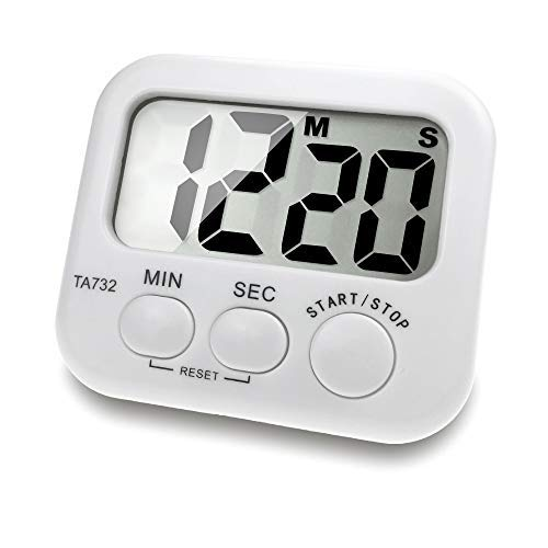 Borminy Digital Kitchen Timer Large Screen Large Font Display Magnetic Back Cooking Timer Loud Alarm Bracket Simple Operation White Battery Included