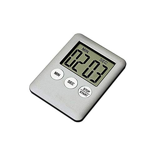 Fiesta Fashion Simple Super Thin LCD Digital Screen Kitchen Timer Square Cooking Timer Count Up Countdown Alarm with Magnet Gray
