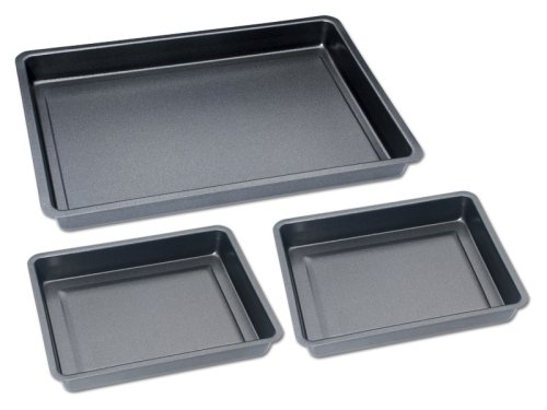 CHG Set209-10 Baking Tray Set 3 Piece 1 x baking and roasting tray 42 cm x 29 cm x 4 cm 2 x baking and roasting tray 29 cm x 23 cm x 4 cm