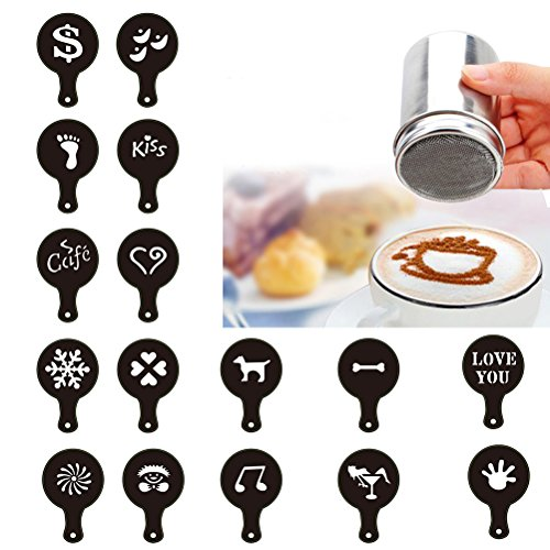 BESTOMZ 16 Pcs Cappuccino Chocolate Shaker Coffee Flour Sifter Sugar Shaker Stainless Steel Salt Dispensers Cocoa Flour Spice Powder Tin