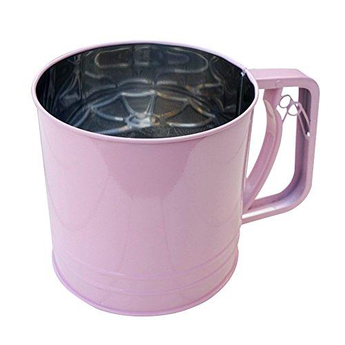 Stainless Steel Flour Sifter Sieve Filter Baking Icing Sugar Powder Strainer pink